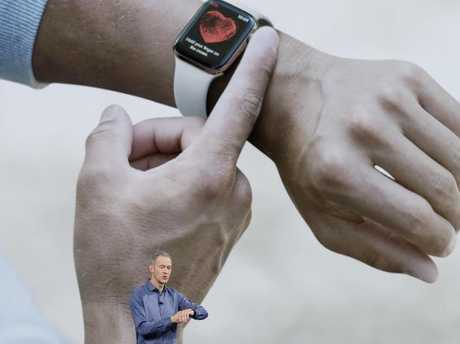 Jeff Williams, Apple's chief operating officer, speaks about the Apple Watch Series 4 at the Steve Jobs Theater on September 12, 2018, in Cupertino, California. Picture: AP