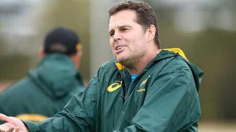 South Africa coach Rassie Erasmus gestures during training at Churchie Grammar School.