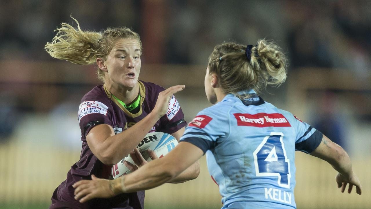 Queensland's Meg Ward on a collision course with NSW's Isabelle Kelly during the Women's State of Origin match at North Sydney Oval on June 22