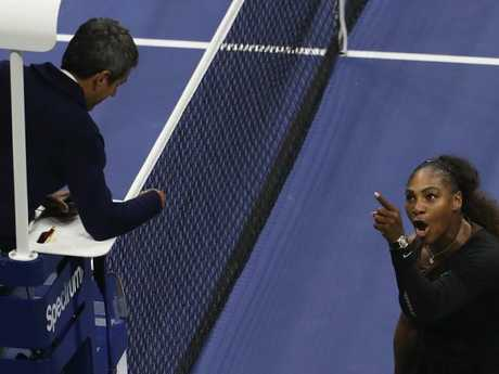 Serena Williams argues with umpire Carlos Ramos during her Women's Singles finals match against Naomi Osaka. Picture: Getty