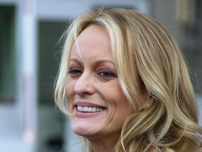 Stormy Daniels speaks to members of the media after a hearing at federal court in New York City. Picture: AP Photo/Craig Ruttle