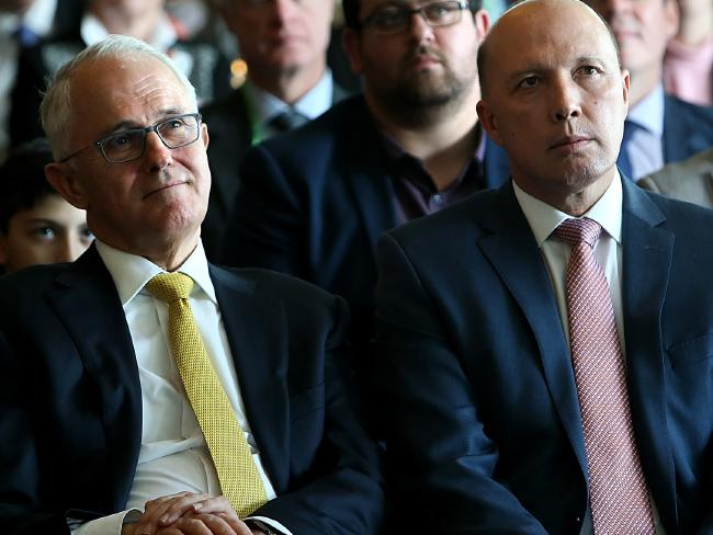 Peter Dutton and former PM Malcolm Turnbull.  Picture Kym Smith