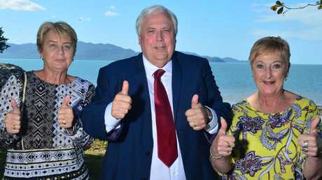 Clive Palmer with United Australia Party members Jen Sackley and Sue Bertuch, who both ran for One Nation in Far North Queensland seats in the 2017 state election. PICTURE: EVAN MORGAN