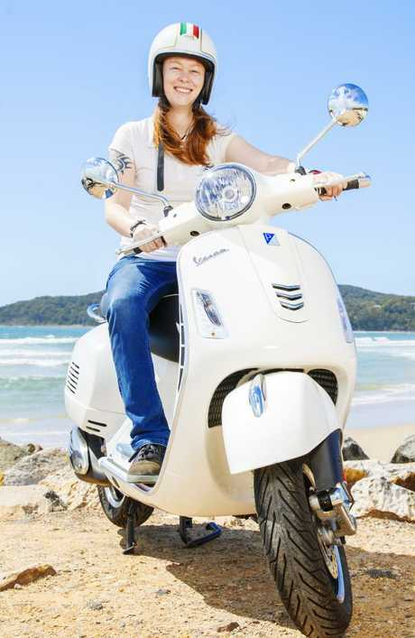 Rose Lowndes is one of many Vespa riders in Noosa. Picture: Lachie Millard