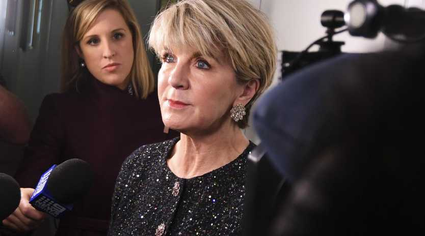Julie Bishop was cornered in the corridors of parliament this morning. Pic: AAP/Lukas Coch