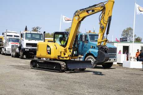 Excavator being lined up for auction day. PHOTO: Miraposa Images