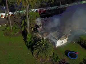 Drone footage of house fire
