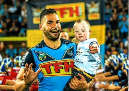 FOOTY TIME: Nate Wilson lived his football dreams when he had the chance to hang out with the Titans earlier this month.