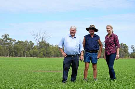 POWER PROBLEM: Mick Zimmerman shows Member for Flynn Ken O'Dowd and Minister for Regional Services Bridget McKenzie around his Jambin property.