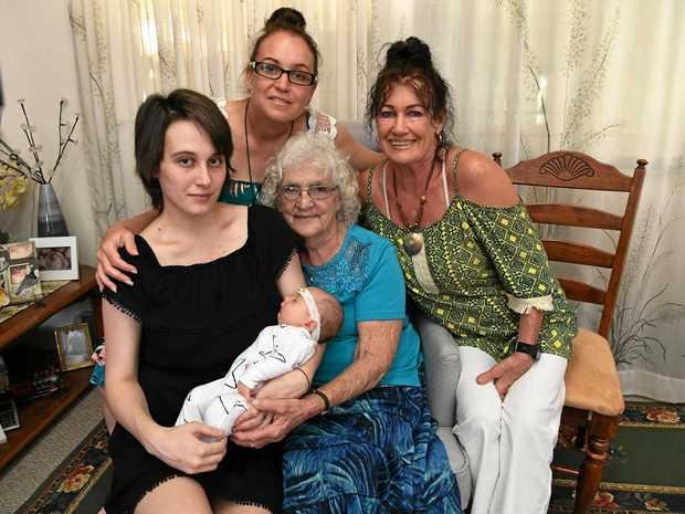 HAPPY FAMILIES: Five-week old Astrid Hewerdine, with mum Pamela Tinney, grandmother Brandy Spokes (back left), great-grandmother Di Gerrard (back right) and great-great-grandmother Joy Payne (front).