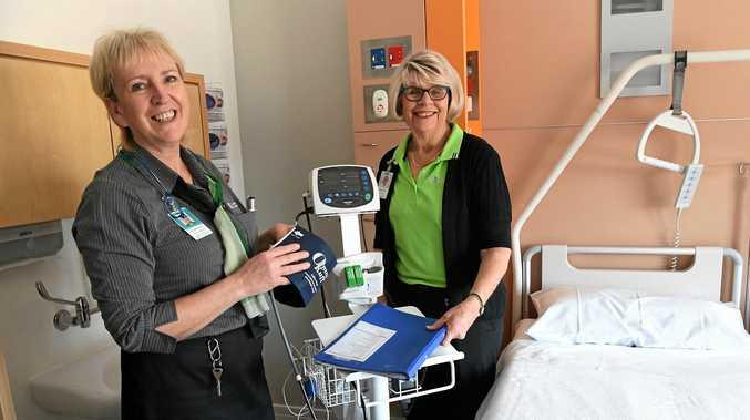 HEALTHCARE: Nurse unit manager Mary McKinney and volunteer Marie Bennett.