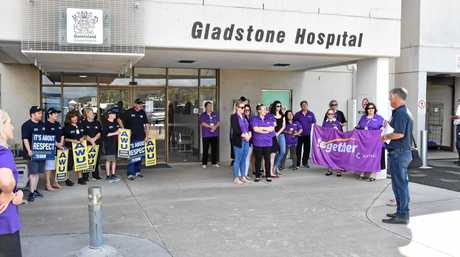 Workers at Gladstone Hospital protest over workload, safety and security concerns.
