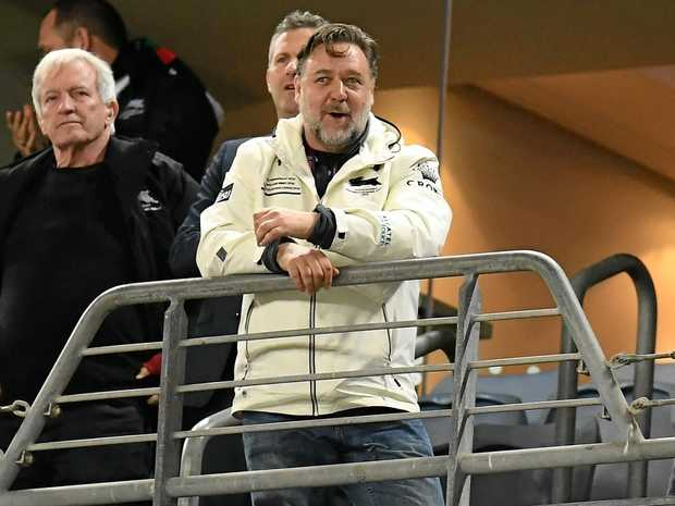 Rabbitohs owner Russell Crowe watches from the stands during the round 25 NRL match between South Sydney and the Wests Tigers at ANZ Stadium. Picture: Dean Lewins/AAP