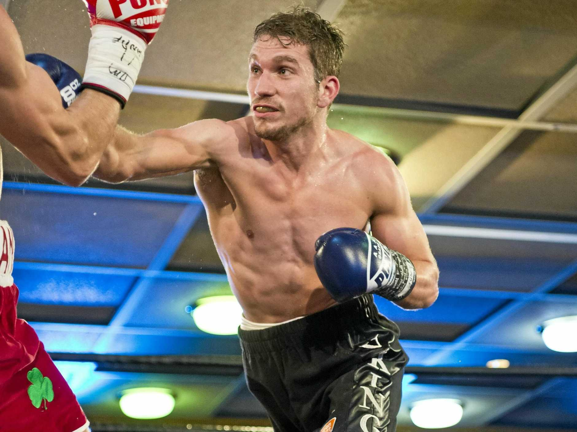 Steve Spark on his way to victory over Gearoid Clancy in their Australian super lightweight title bout at TGW Rumours International in August.