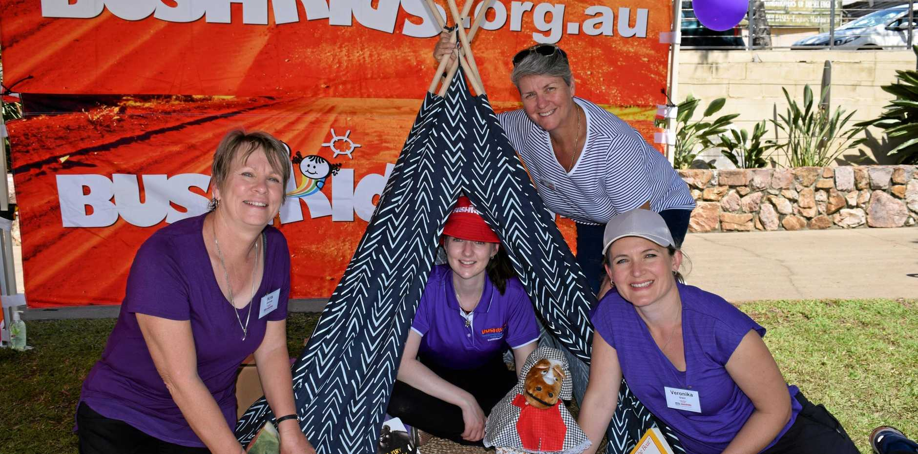 Bushkids Hervey Bay (from left) Kris Jennings, Sara McCarron, Veronika Grant and Lisa McCudden are an early intervention team and the gateway to NDIS for children 0-6years had a interactive stall at Life Choice Community Day in the Park.