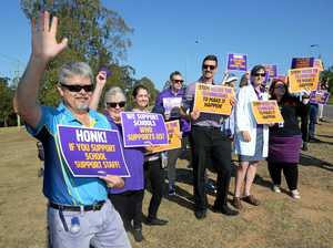 School staff take to Ipswich road in fight for fair wages