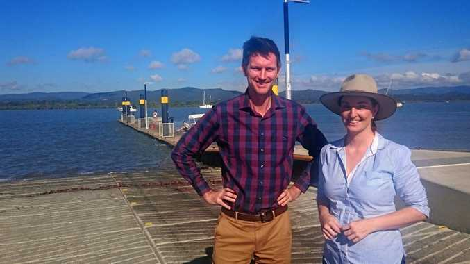RAMPING UP: Keppel MP Brittany Lauga at the Cooroman Creek ramp with Minister for Transport and Main Roads Mark Bailey.