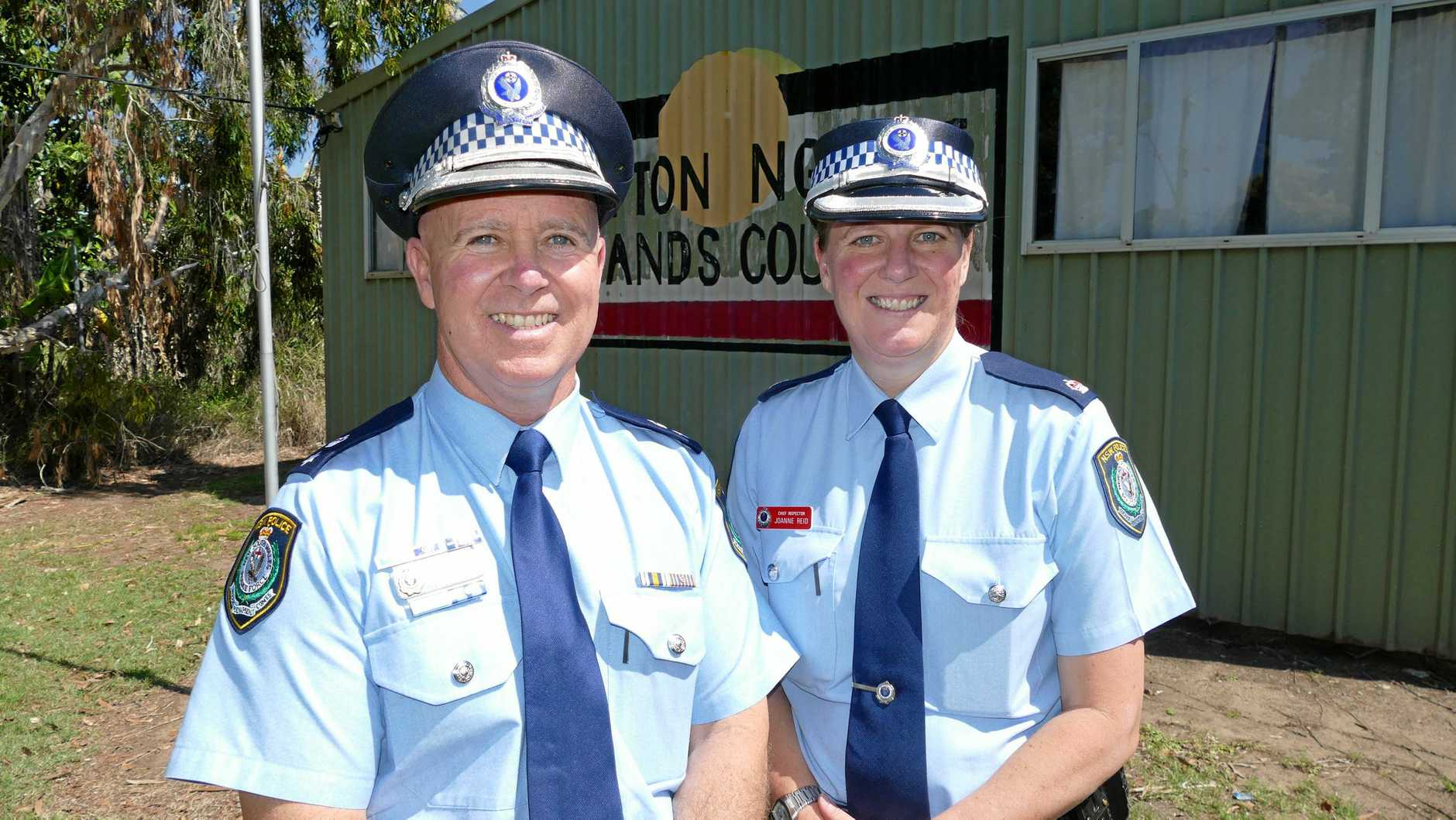 IN CHARGE: New Coffs Clarence Police Local Area Commander Superintendent Steve Clarke with Grafton commander Inspector Jo Reid.