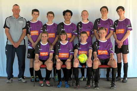 Foodworks: (Back, from left) coach Brendan Ryan, Joel Barker, Brendan Atherton, Ariel Walsh, Kaitlyn Newley, Hayden Coleman, Daniel McNamara, (front) Nella Ryan, Sarah Hockings, Toby Callaghan, Ethan Kelly. Gizeshw'k Mason is also in the team.
