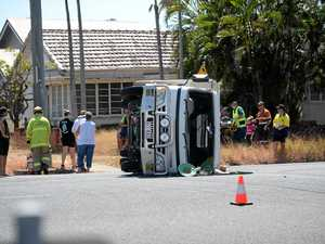 UPDATE: Man hospitalised after truck rolls in Rocky CBD