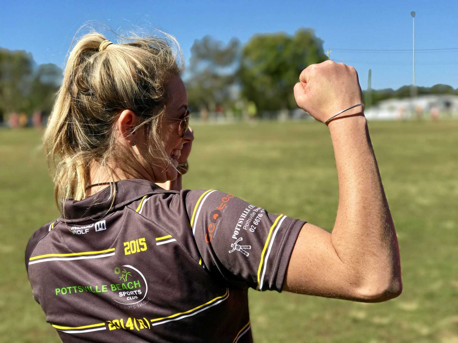 Tweed Coast Tigers women's coach Katie Patison celebrates her team's first win of their debut season. Past and present players will come together for a club day at Sea Breeze Sportsfield on Saturday, August 19, 2017