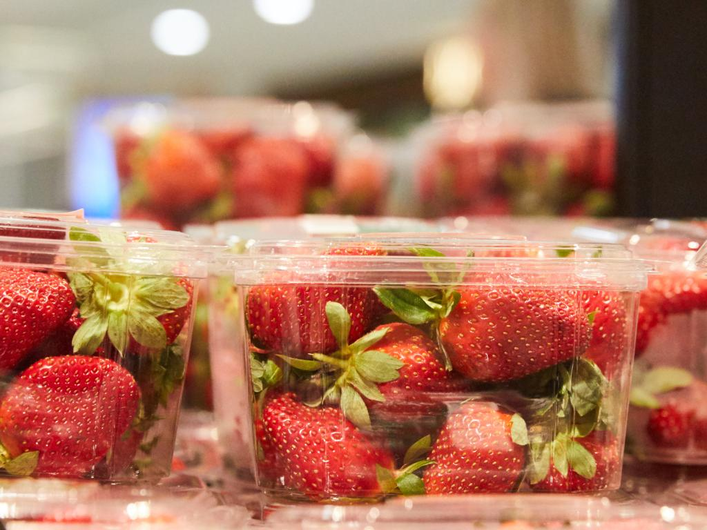 Strawberry punnets at a Sydney supermarket yesterday. Picture: Erik Anderson/AAP
