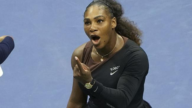 FILE - In this Saturday, Sept. 8, 2018, file photo, Serena Williams argues with the chair umpire during a match against Naomi Osaka, of Japan, during the women's finals of the U.S. Open tennis tournament at the USTA Billie Jean King National Tennis Center, in New York. Some black women say Serena Williams' experience at the U.S. Open final resonates with them. They say they are often forced to