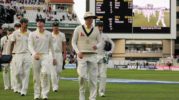 Australia captain Michael Clarke leads his team from the field at stumps on day one of the fourth Ashes Test  at Trent Bridge in 2015. Picture: Gareth Copley/Getty Images