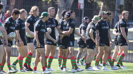 The South Sydney squad trains ahead of Saturday's sudden-death match against the Dragons. Picture John Grainger