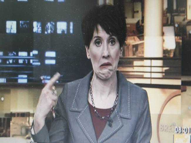 The camera cut back to Virginia Trioli unexpectedly and captured this unfortunate moment.