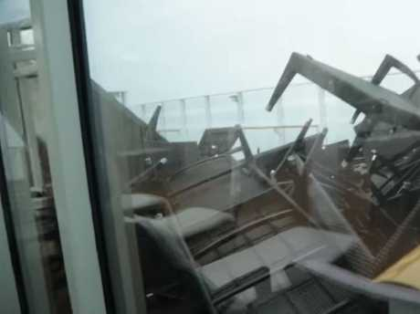The Norwegian Cruise Lines ship was battered. Picture: Storyful