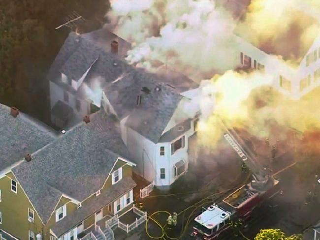 Firefighters battle a large structure fire in Lawrence. Picture: WCVB