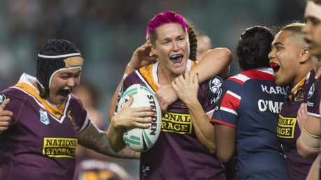 Broncos star Chelsea Baker celebrates the win over the Roosters with her teammates at Allianz Stadium. Picture: AAP