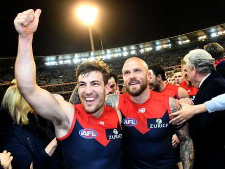 Jack Viney (left) and Nathan Jones are dreaming big. (AAP Image/Julian Smith)