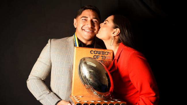 NRL; North Queensland Cowboys Awards Night 2018. Paul Bowman Medal for Cowboy of the Year Ð Jason Taumalolo with partner Liana LaRiva. Picture: Alix Sweeney