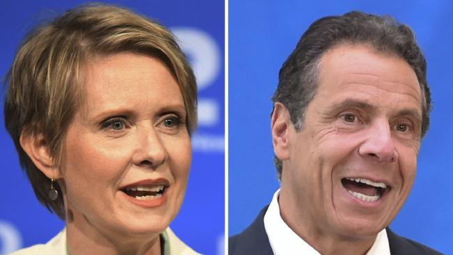 New York gubernatorial candidate Cynthia Nixon, left, and Governor Andrew Cuomo. Picture: AP