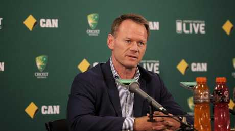 Australia high performance manager Pat Howard speaks to media during the tour South Africa. Picture: Luke Bowden