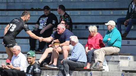 Sam Burgess meets supporters at Redfern Oval on Friday. Picture: John Grainger