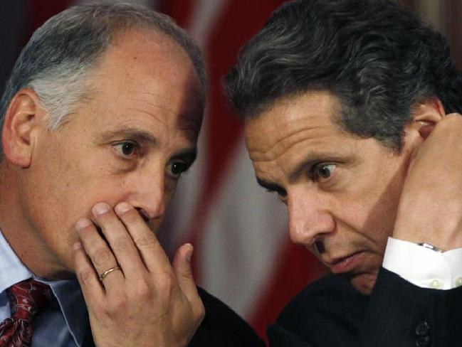 Larry Schwartz and New York Governor Andrew Cuomo. Picture: AP