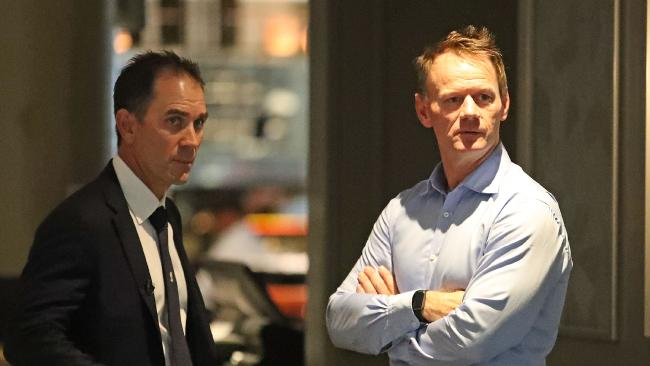Australian coach Justin Langer with high performance manager Pat Howard.