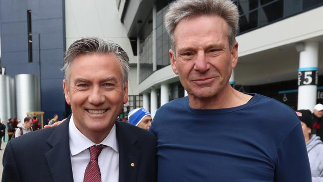 Eddie McGuire and Sam Newman are are considering suing over a bogus erectile dysfunction treatment campaign. Picture: Alex Coppel