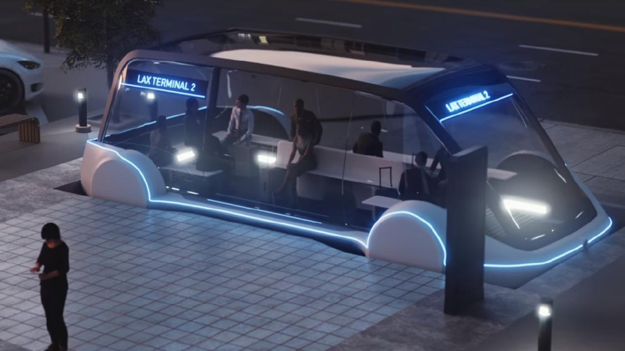 A Boring Company autonomous pod would ride on electric 'skates'. Photo: Supplied.