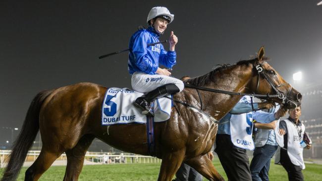 Oisin Murphy returns to scale on Benbatl after winning the Dubai Turf on Dubai World Cup Day on March 31.