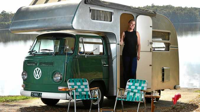 Ashleigh Morrow's vehicle of choice for the Spectacular is a 1972 Kombi that was cut-down and fitted with a custom-built motorhome body behind the cab, making it look like a caravan has been dropped onto the chassis.