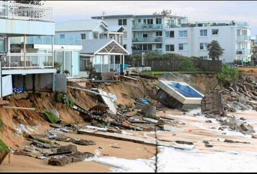 Storm surge damage at Collaroy in Sydney underscores the dangers of Australia's retreating coast line. Scientists say the need to shift away from vulnerable environments would be one of the serious consequences of climate change, sea level rise and increased intensity of extreme weather events.