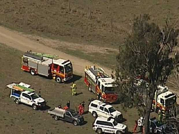 Emergency services search for the man. Picture: 9News.