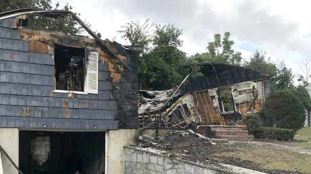 The Soto home has burned to the ground. Picture: AP Photo/Bob Salsberg