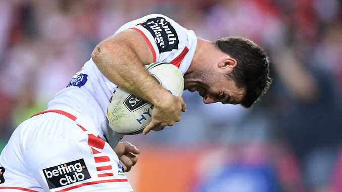 Ben Hunt of the Dragons reacts after scoring a try during the Second Semi Final between the South Sydney Rabbitohs and the St George-Illawarra Dragons