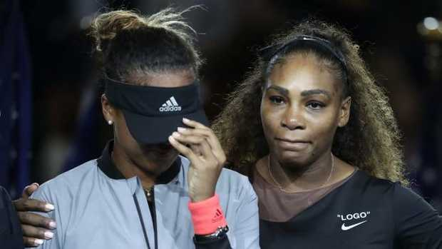 Serena Williams hugs Naomi Osaka after the US Open final. Picture: AP