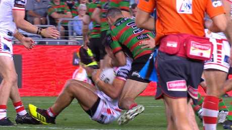 Greg Inglis pleaed guilty to a crusher tackle for this effort on Dragons rival Tim Lafai.